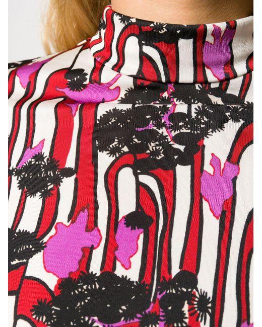 Top imprimé à col roulé LaDoubleJ en coloris Red
