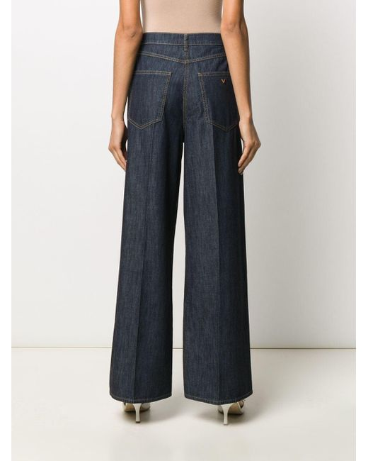 Jeans A Zampa V Gold In Cotone di Valentino in Blue