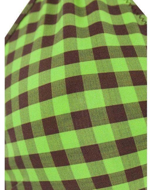 Fendi Women's Green Gingham Check Bikini