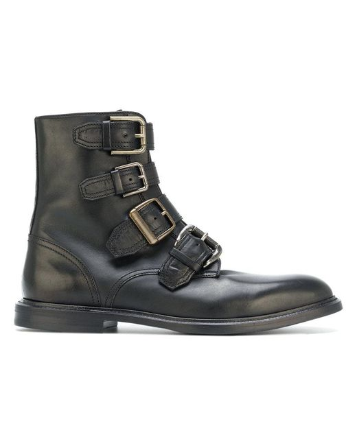 Dolce & Gabbana | Black Buckle Strap Ankle Boots for Men | Lyst