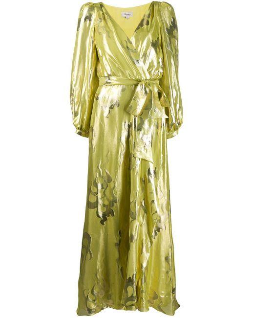 Temperley London シルク混カシュクールミディドレス Yellow