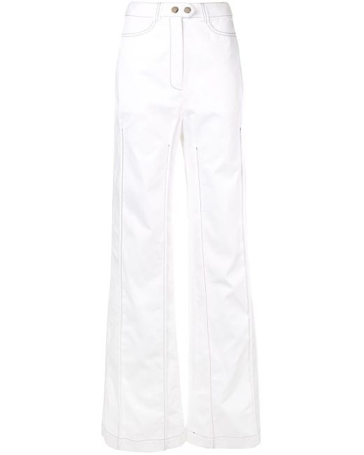 Ellery White Contrast Stitching Wide Leg Trousers