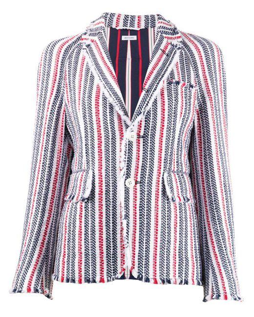 Thom Browne White Frayed Striped Blazer