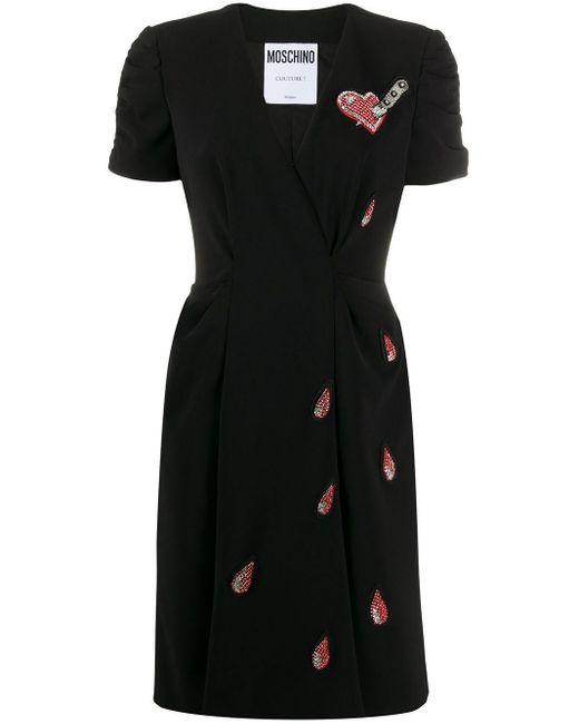 Moschino ビーズ Vネック ドレス Black