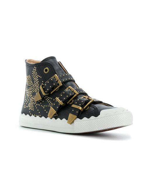 Lyst Chlo 233 Studded High Top Trainers In Black Save 13