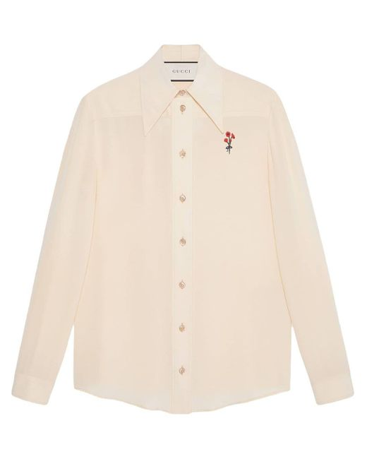 Gucci White Silk Shirt With Flower