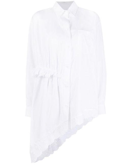 Body asimmetrico con ruches di Simone Rocha in White
