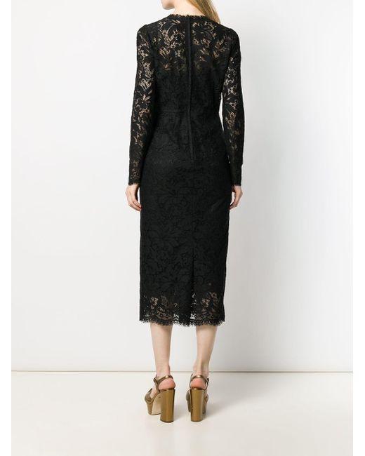 Платье Миди Из Цветочного Кружева Dolce & Gabbana, цвет: Black
