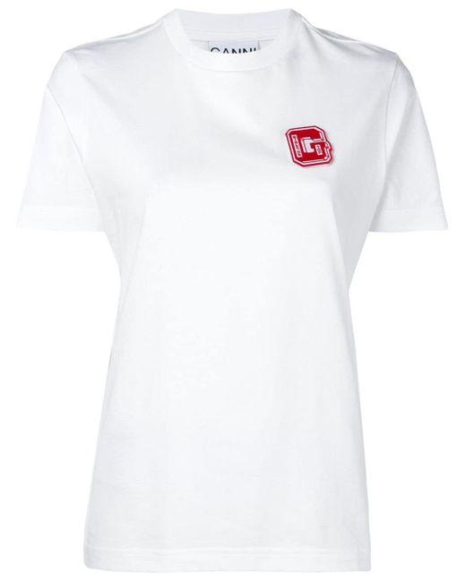 Ganni パッチ Tシャツ White