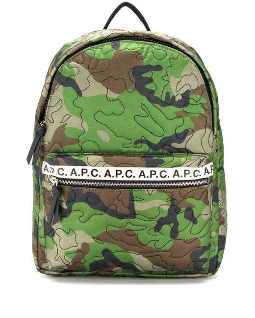 Рюкзак С Камуфляжным Принтом A.P.C. для него, цвет: Green