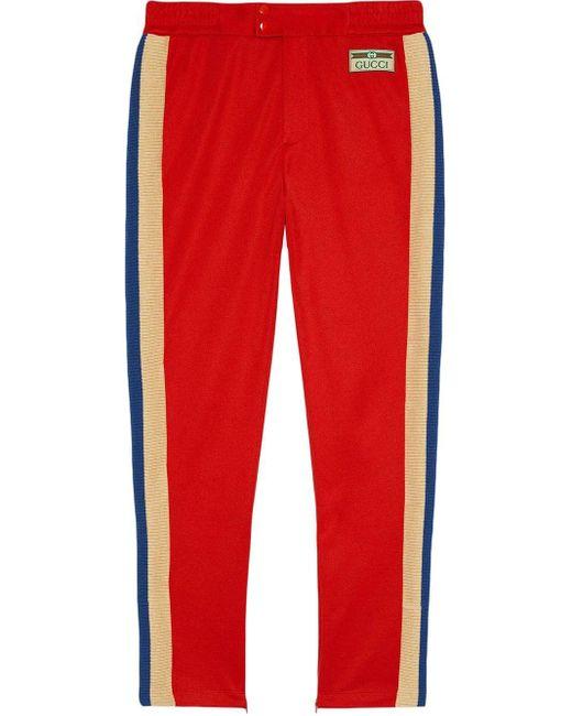 メンズ Gucci 【公式】 (グッチ)テクニカルジャージー ジョギングパンツレッドレッド Red