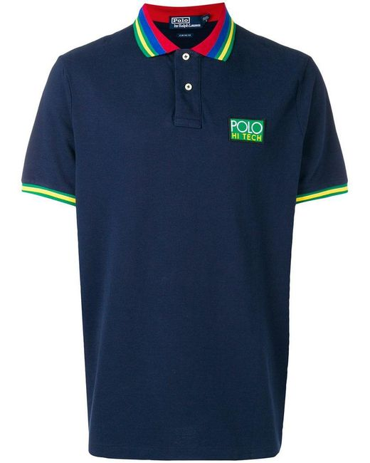 Polo Ralph Lauren - Blue Striped Collar Polo Shirt for Men - Lyst