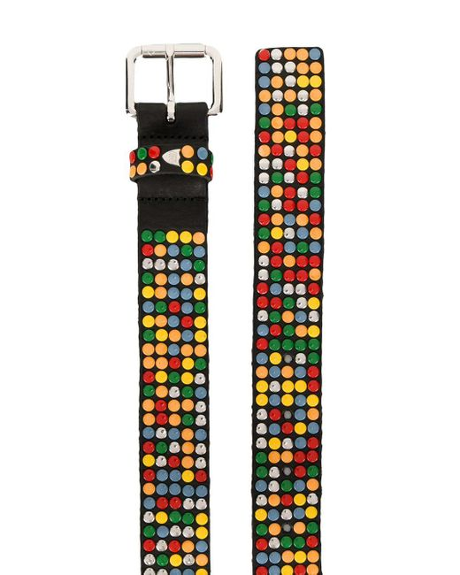 Htc Los Angeles Leather Rainbow Studs Belt In Black