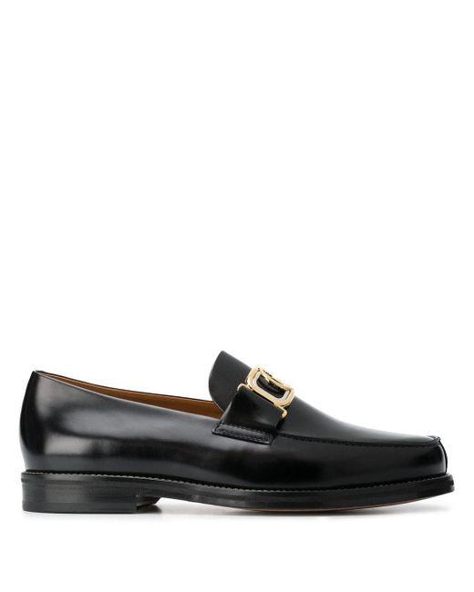 Lanvin Black Gold Buckle Slip-on Loafers for men