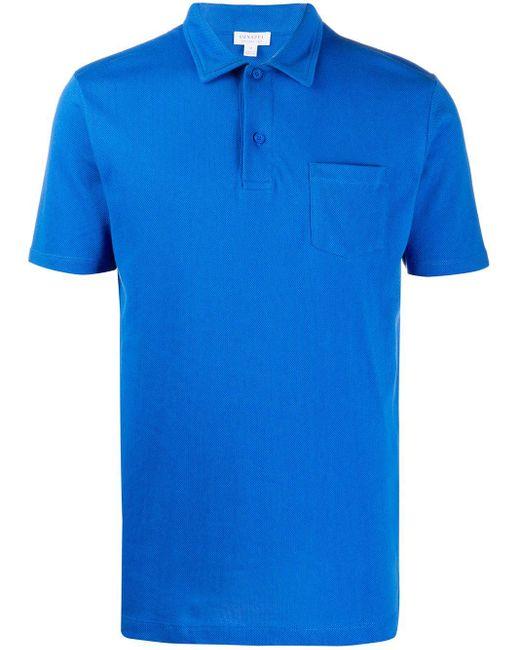 メンズ Sunspel チェストポケット ポロシャツ Blue