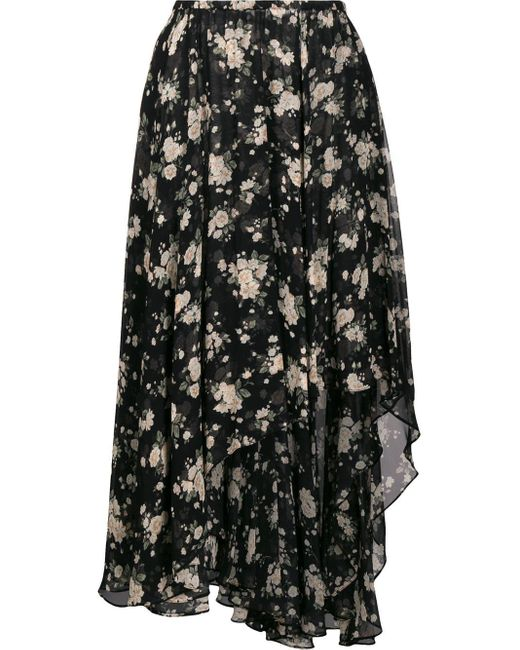 Jupe mi-longue fleurs Michael Kors en coloris Black
