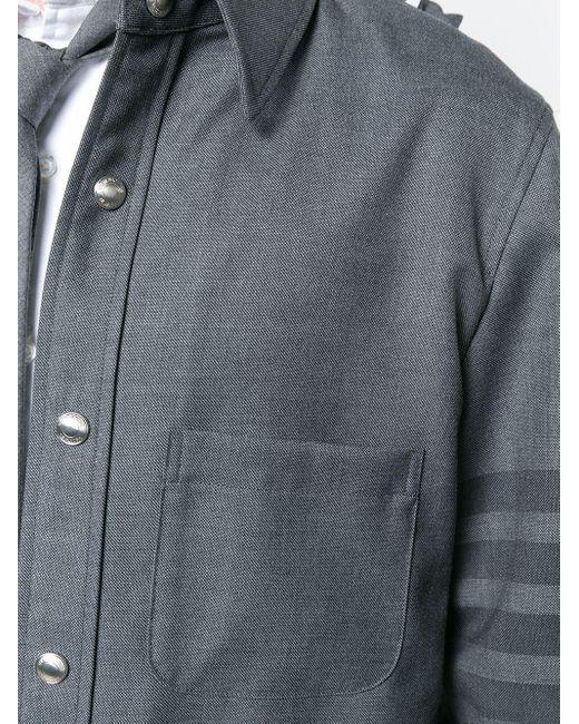 メンズ Thom Browne 4barフーディ シャツジャケット Gray