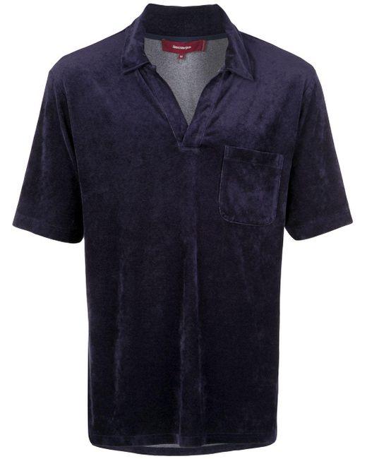 メンズ Sies Marjan ベルベット ポロシャツ Blue
