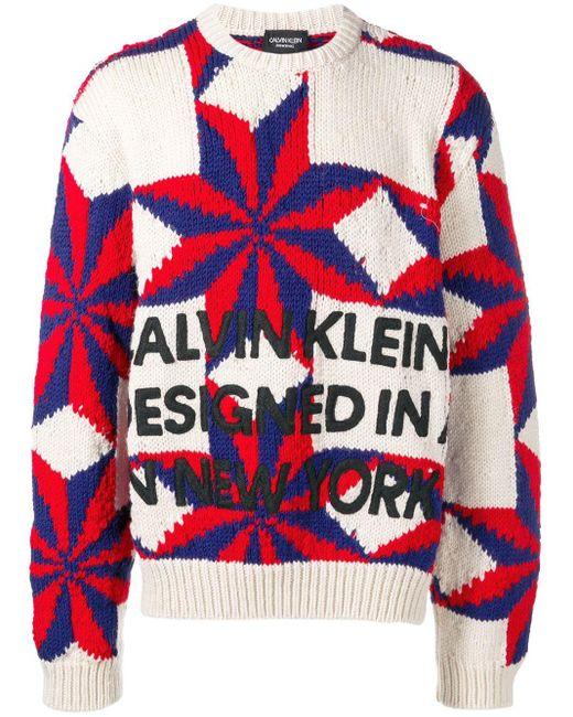 メンズ CALVIN KLEIN 205W39NYC スター セーター Red
