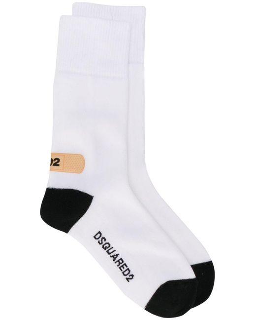 メンズ DSquared² ロゴ 靴下 White