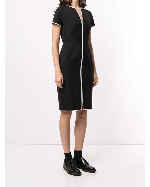 Paule Ka コントラストパイピング ドレス Black