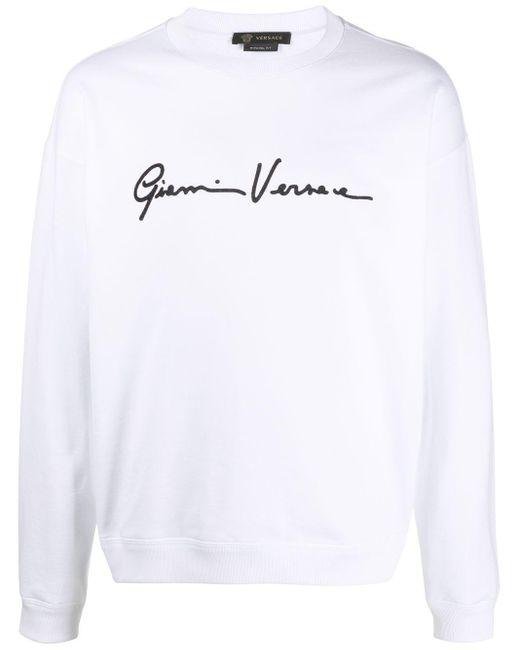 メンズ Versace プリント スウェットシャツ White