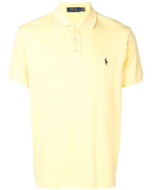 メンズ Ralph Lauren ロゴ ポロシャツ Yellow