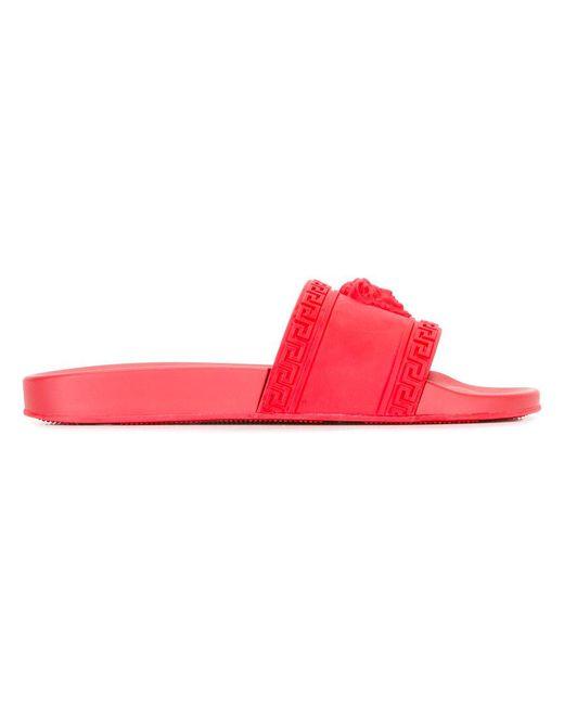 aac52ef848c60 Versace - Red Medusa Slides for Men - Lyst ...