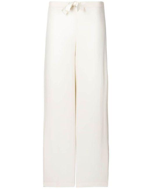 Max & Moi シルク ワイド パンツ White