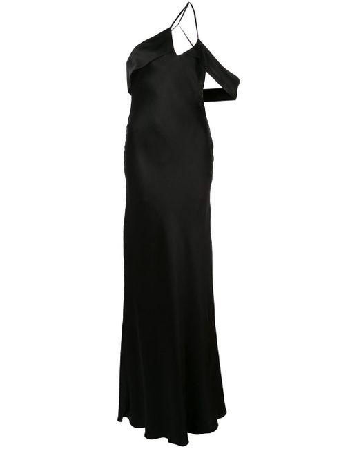 Michelle Mason ドレープショルダー ドレス Black