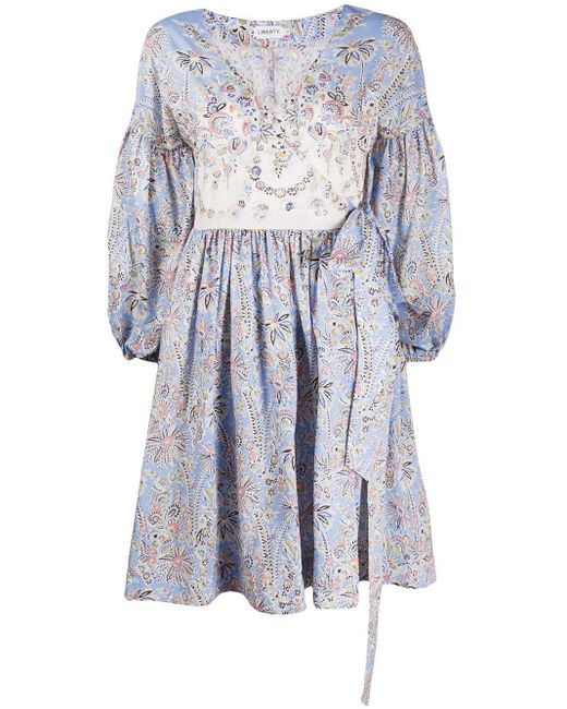 Liberty フローラル ドレス Blue