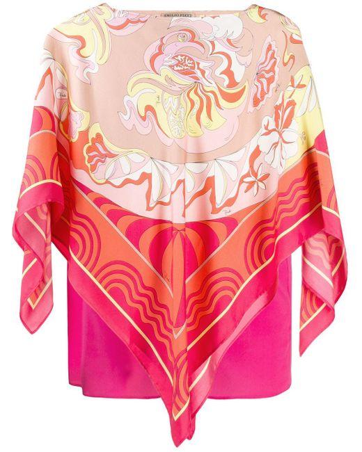 Emilio Pucci フローラルプリント スカーフトップ Pink