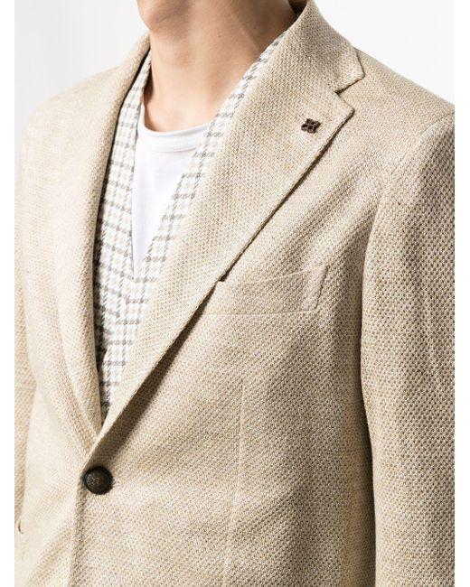 メンズ Tagliatore リネン シングルジャケット Natural