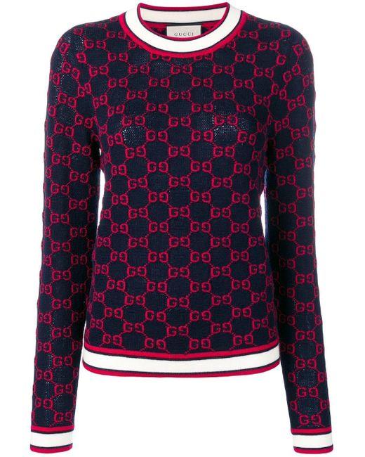 Gucci ロゴ セーター Blue