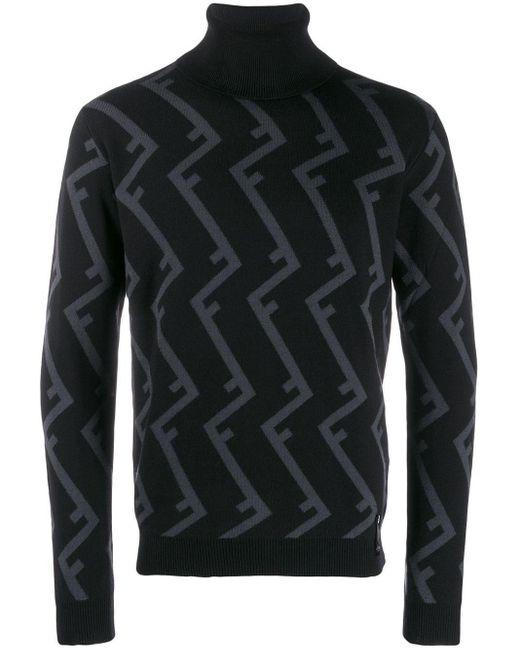 Pull à motif monogrammé et col roulé Fendi pour homme en coloris Black