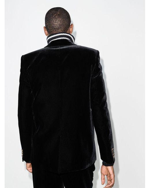 メンズ Saint Laurent ベルベット シングルジャケット Black