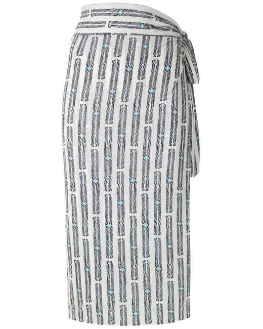 Lygia & Nanny White Orixá printed wrap skirt