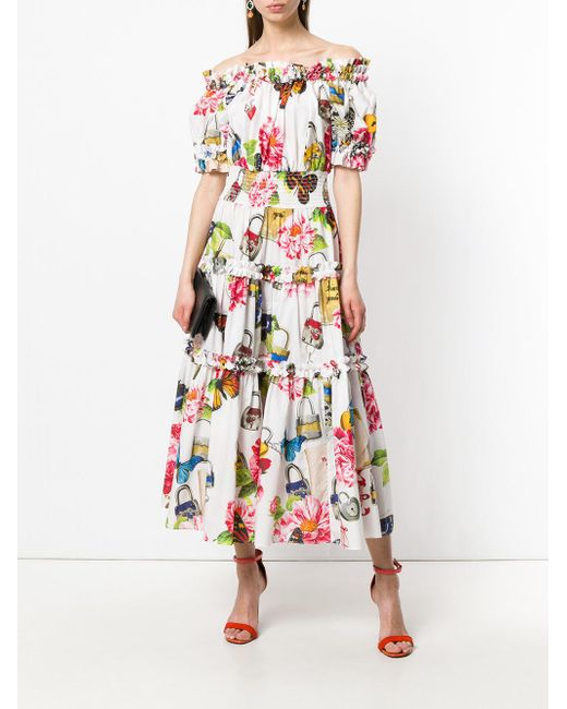 771244a898b ... Lyst Dolce   Gabbana - White Shirred Butterfly Dress ...