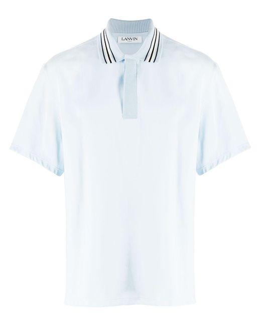 メンズ Lanvin ストライプカラー ポロシャツ Blue