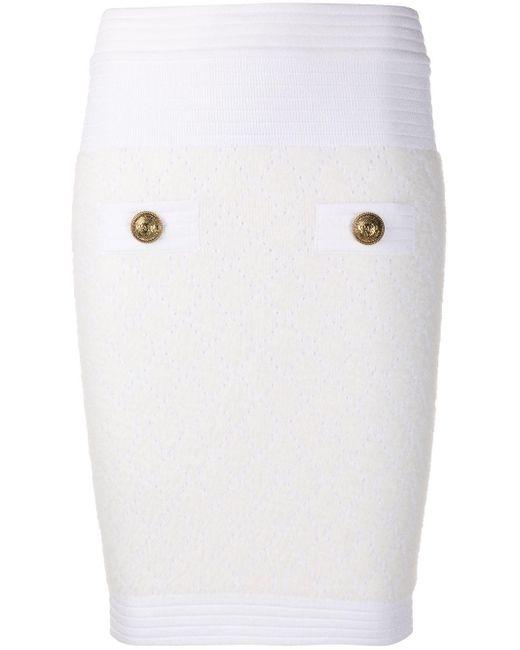 Стеганая Юбка Облегающего Кроя Balmain, цвет: White