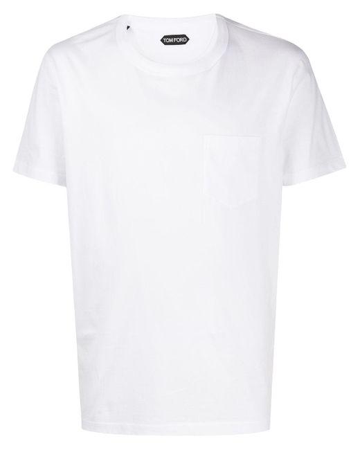 メンズ Tom Ford パッチポケット Tシャツ White
