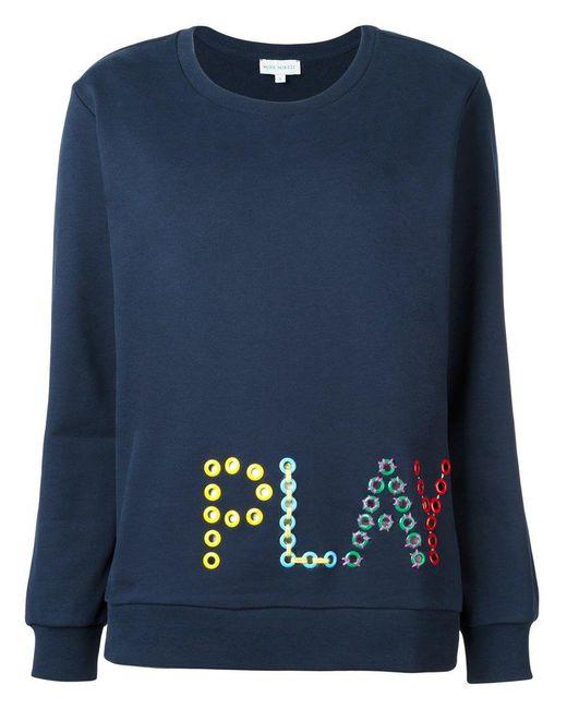 MIRA MIKATI - Blue Love Me Embroidered Sweatshirt - Lyst