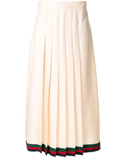 Gucci - Natural Pleated Midi Skirt With Web Trim - Lyst