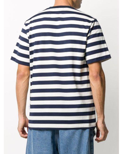 メンズ Sunnei ストライプ ロゴ Tシャツ Blue
