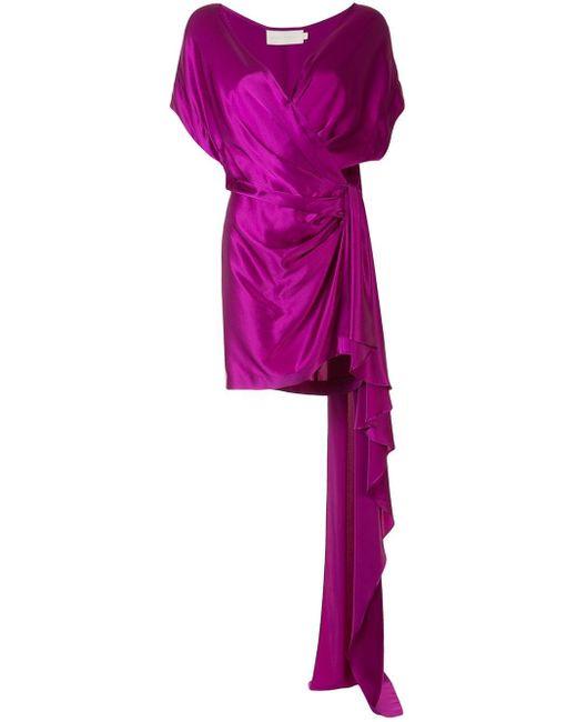 Michelle Mason シルク ラップドレス Purple