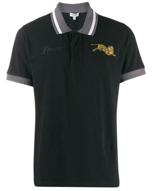 メンズ KENZO Jumping Tiger ポロシャツ Black