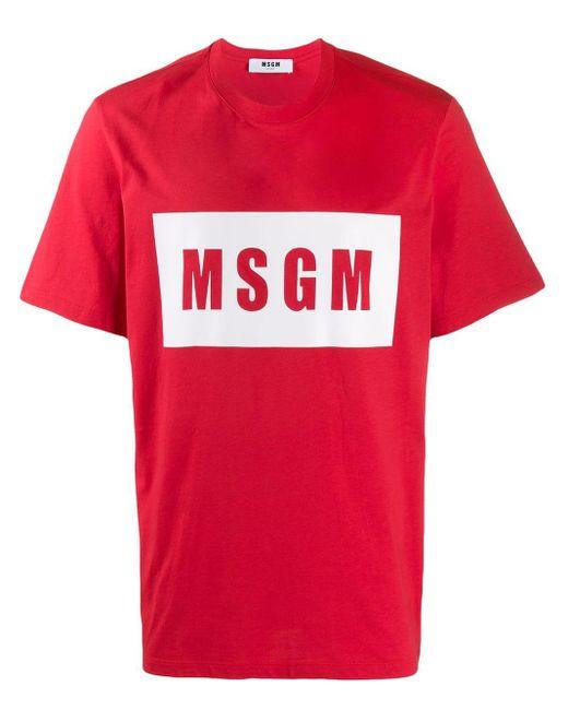 メンズ MSGM ロゴ Tシャツ Red