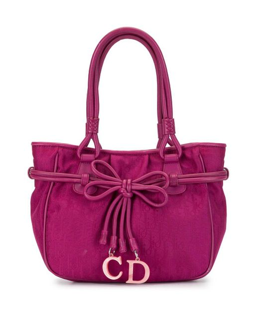 Dior 2007 プレオウンド モノグラム リボンチャーム バッグ Pink