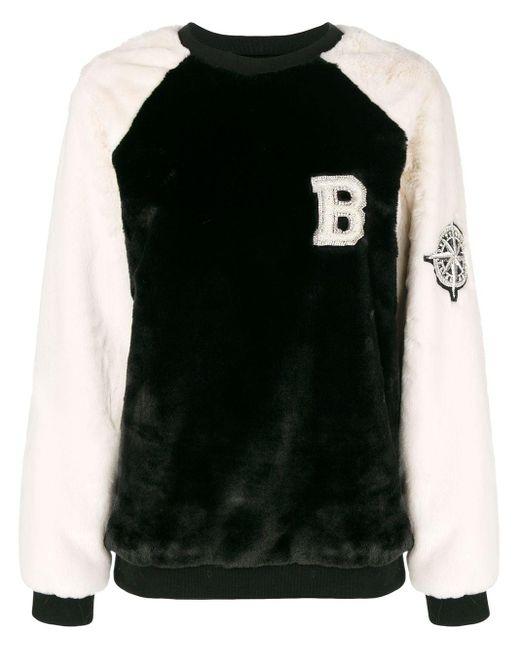 Sweat à manches contrastantes Balmain en coloris Black