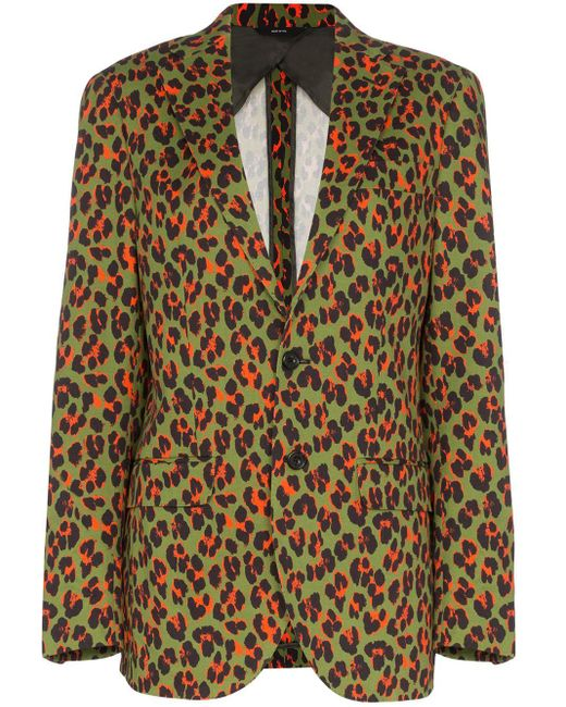 R13 Green X Alison Mosshart Cheetah Print Blazer